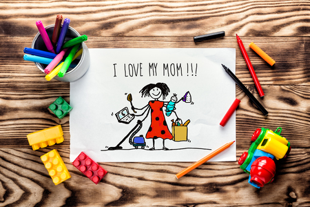 children's drawing greeting card for Mother's Day