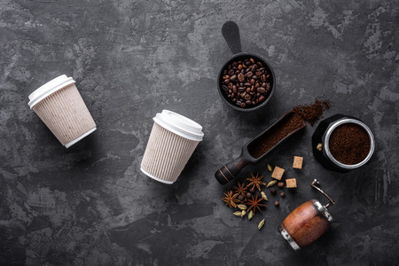 coffee on dark stone background Imagens