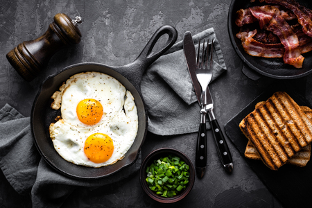 english food: bacon and eggs Stock Photo