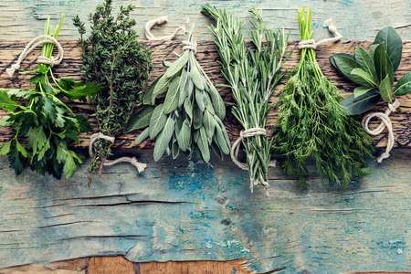 fresh herbs on wooden background with space for text