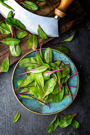 Fresh mangold leaves, swiss chard or leaf beet