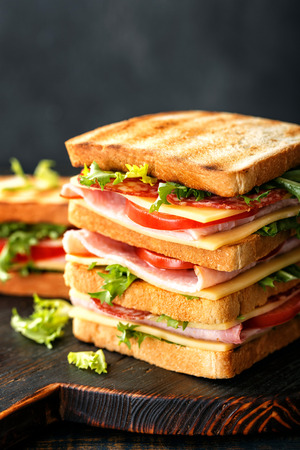 sandwiches with grilled toast ham salami cheese tomatoes and lettuce Banque d'images - 113696980