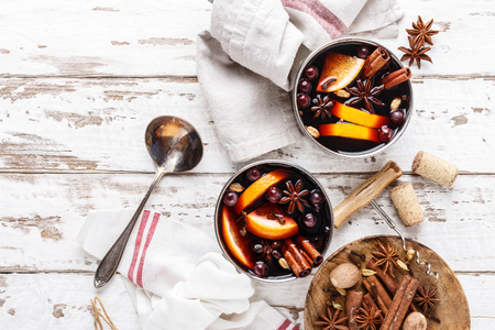 mulled wine winter and autumn warming drink cooked with spices and cranberries