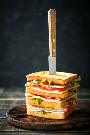 sandwiches with grilled toast ham salami cheese tomatoes and lettuce Banque d'images - 113696986