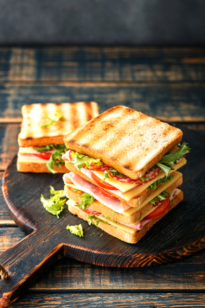 sandwiches with grilled toast ham salami cheese tomatoes and lettuce 免版税图像