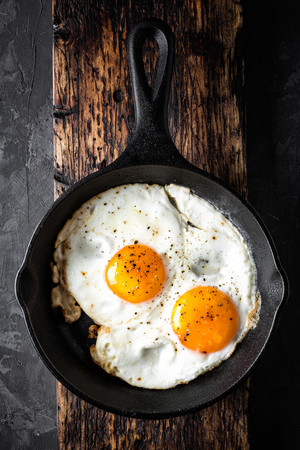 fried eggs in black skillet top view with space for a text