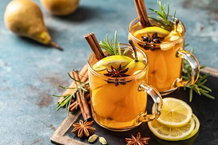 Hot drink cocktail for New Year, Christmas, winter or autumn holidays.