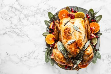 Christmas or Thanksgiving turkey. Prepeared roasted turkey for festive dinner Stok Fotoğraf