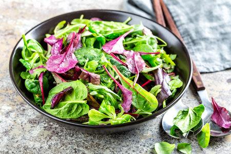 Salad bowl, healthy food. Fresh salad mix of baby spinach, arugula leaves, basil, chard and lambs lettuce. Imagens