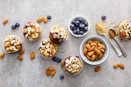 Almond blueberry muffins cupcakes dessert