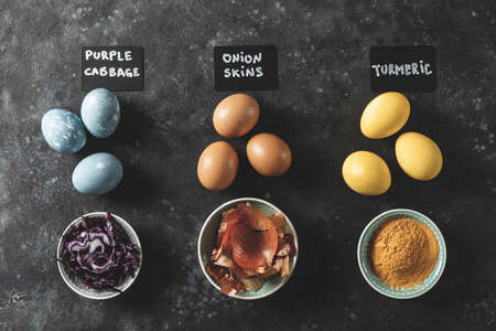 Easter eggs painted with dye of natural ingredients