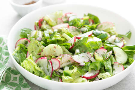 Salad bowl of fresh vegetables with radish, cucumber, romaine lettuce, bell pepper and greens. Healthy food Imagens