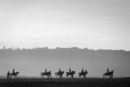 Silhouette of a group of horse riders at Bromo