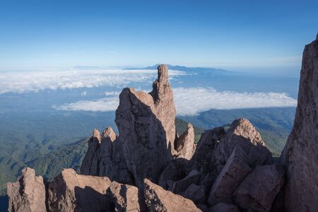 A view from Toothpick Peak orPuncak Tusuk Gigi (3,315m). Raung is the most challenging of all Java's mountain trails, also is one of the most active volcanoes on the island of Java in Indonesia.