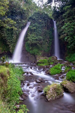 The twin waterfalls that part of beauty of Raung Mountain Sloves, Kalibaru Wetan Village, Banyuwangi Regency, Indonesia. Tirto Kemanten in Javanese means water bride or wedding couple of water.