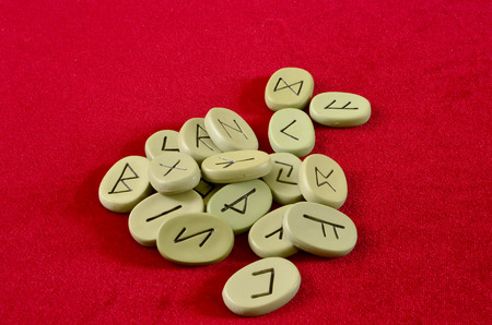 runes on a red background