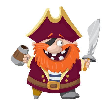 filibuster: illustration of a happy pirate Illustration
