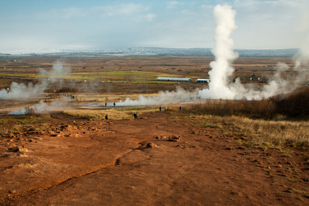 geysers: steam eruption of strokkur heysir in haukadalur geothermal area iceland Stock Photo