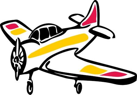 illustration of Small single engine propeller aircraft Illustration