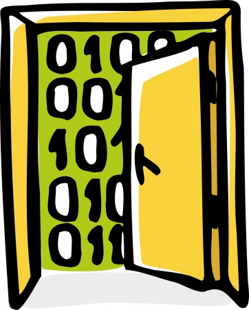 stylized illustration  of open door with binary code background