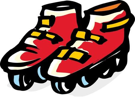 stylized illustration  of Roller skates