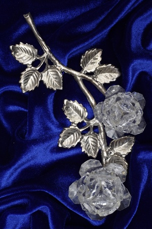 Silver rose with crystals from Svarovski