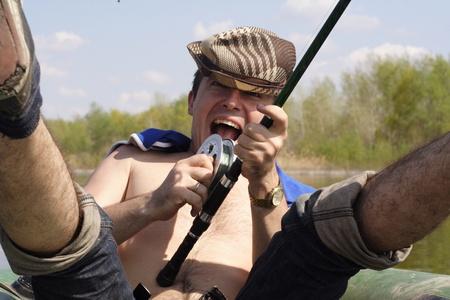 Very joyful man who has fished