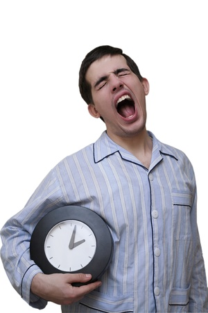 pajama: The person in a pajamas, with hours an armpit - yawns (isolated)