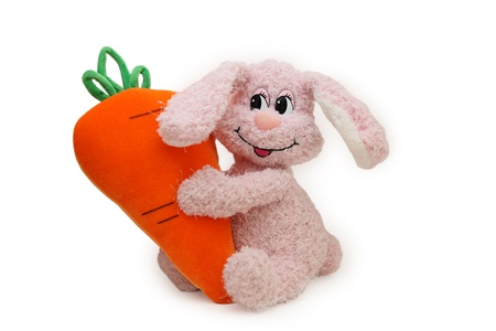The toy pink rabbit embraces the big carrot