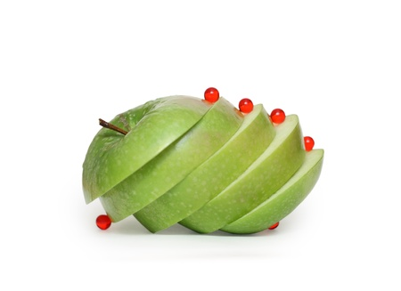 Photo of the apple cut on segments and vitamins Stock Photo