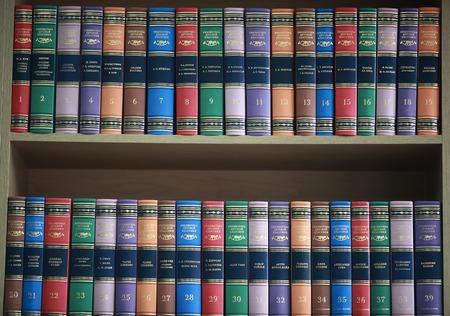 ちゃんと着色されたカバーの側に立って本本棚