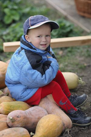 little boy sitting on a big pile of pumpkins