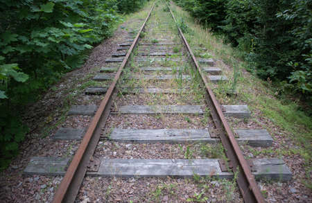 Abandoned railroad with rusty rails and rotten wooden sleepers in the woods. Concept of crisis in transportation Banque d'images