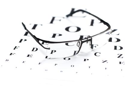 eye chart: Reading glasses with eye chart