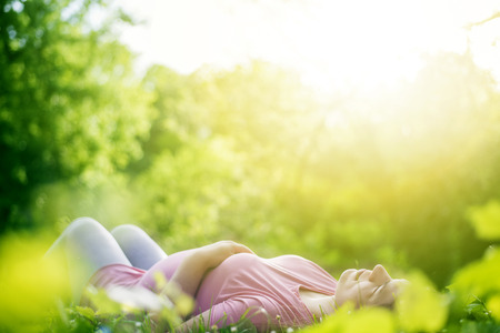human fertility: Pregnant woman in sunny day