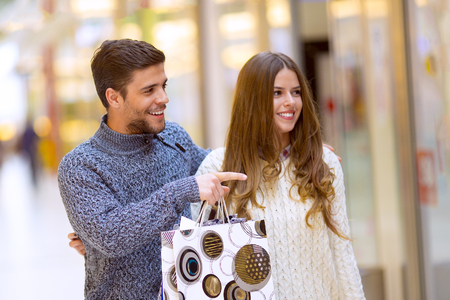 retail place: Couple in shopping.Couple at the shopping center.