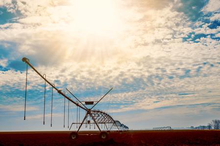 irrigation equipment: Irrigation equipment watering field.A long row of irrigation machinery spreads across a field.