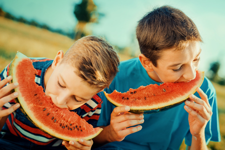 Two happy smiling boys eating watermelon in park