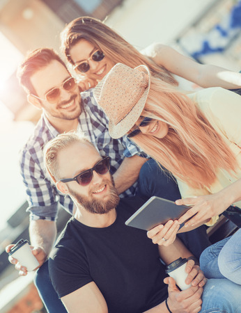 Best friends taking selfie outdoors.Happy young people having fun together. Stockfoto