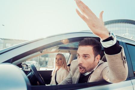 Dangerous city traffic situation,man driving. 版權商用圖片