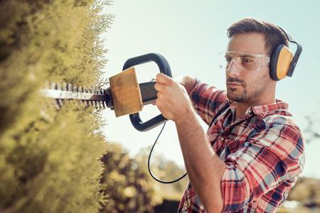 Taille de haies, travaille dans un jardin. Jeune jardinier avec des outils de jardinage professionnels au travail. Banque d'images - 73276044