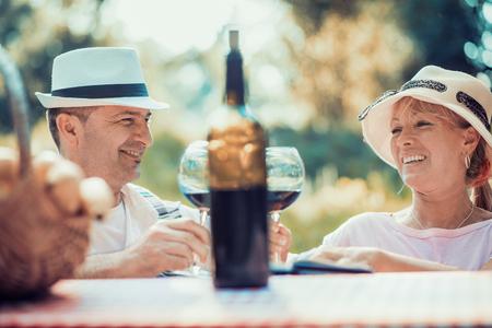 Pares que apreciam o vinho tinto no piquenique no parque.