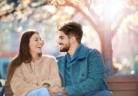Couple in nature.Happy couple in love enjoying together. Stock Photo