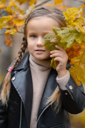 A young girl hiding behind autumn leaf