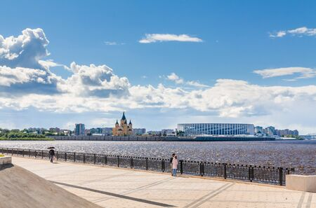 NIZHNY NOVGOROD, RUSSIA - June, 2018: View of Nizhny Novgorod stadium built for football world cup 2018 and cathedral church from embankment of Volga river 에디토리얼
