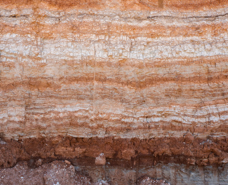 Natural cut of soil with different layers