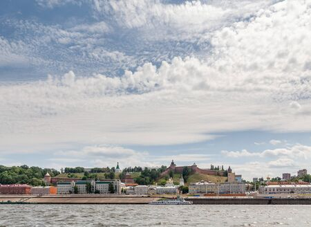 View from Volga river: Nizhny Novgorod Kremlin and Vloga embankment