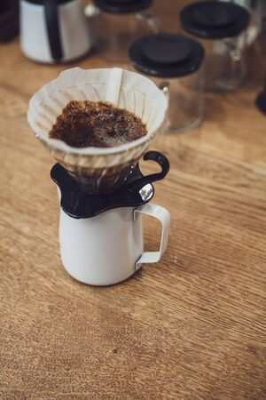 Pour over coffee in funnel. Alternative method