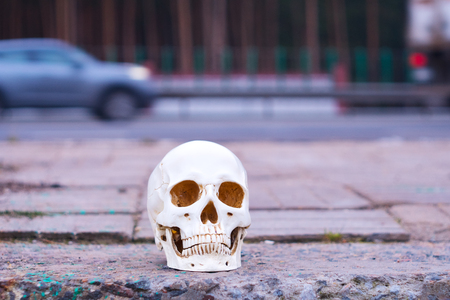 skull near the road. Attention Danger on the roads Accidents Murder Stock Photo