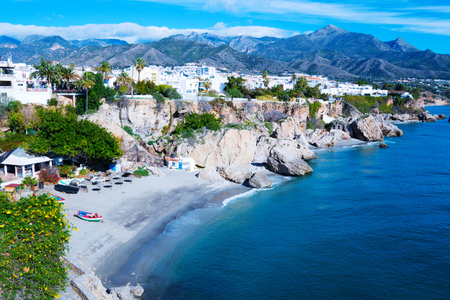 coast near resort town of Nerja in Spain. View from Balcon de Europa